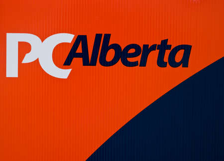 conservatives: Progressive conservatives Alberta party logo on outdoor sign during election, April 2012