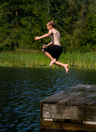 Jump into the lake photo