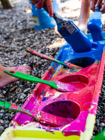messy paint: Kids painting Stock Photo
