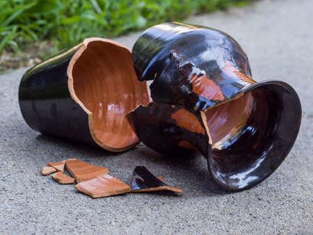 damaged: Broken vase Stock Photo