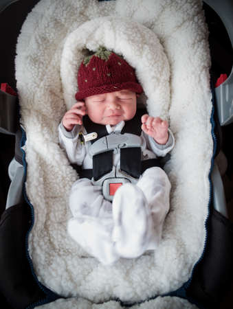 car seat: Newborn boy in car seat Stock Photo