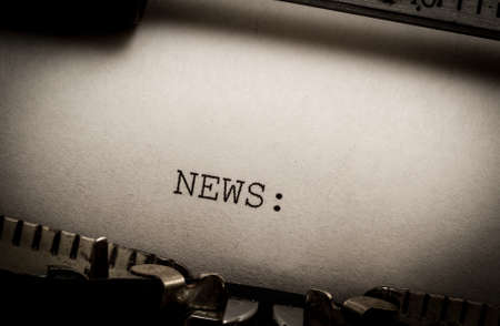news update: News on typewriter Stock Photo