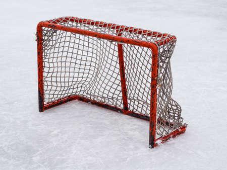 Hockey net on outdoor rink