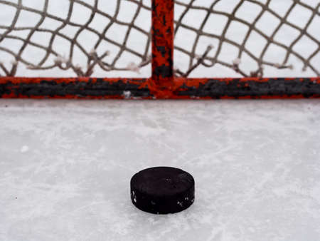 Hockey puck in net