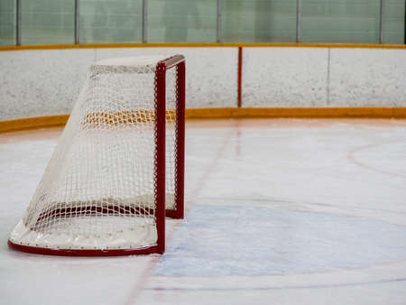 rink: Empty hockey net Stock Photo