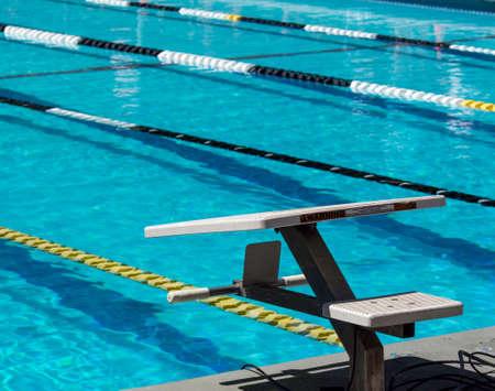 swimming starting block swimming starting blocks stock photo
