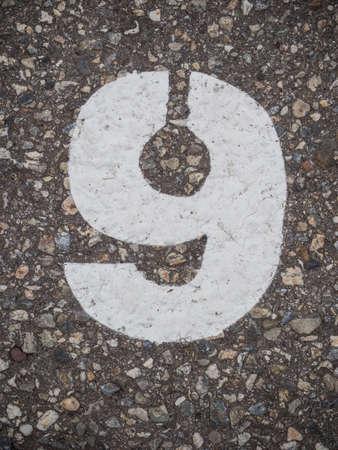 numero nueve: N?mero nueve Foto de archivo
