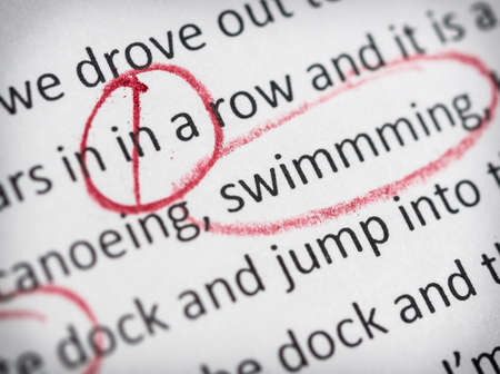 Circled spelling mistakes Stock Photo