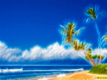 Palm trees on beach abstract