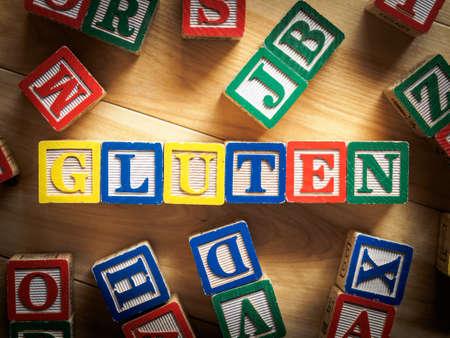Gluten word on wooden blocks Stock Photo