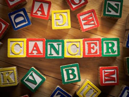 dětství: Rakovina slovo na dřevěných bloků