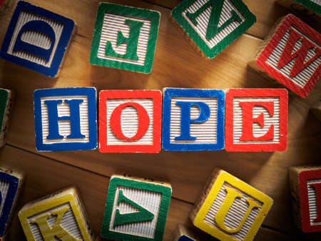 Hope word on wooden blocks