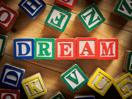 Dream word on wooden blocks photo