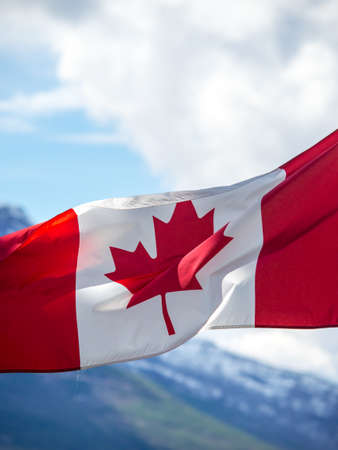 Canadian flag in mountains photo