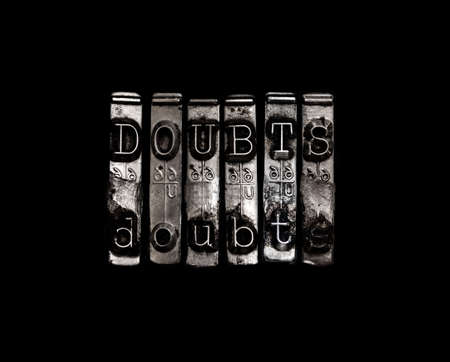 insecure: Doubt or doubts concept Stock Photo