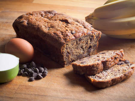 Banana loaf with chocolate chips Zdjęcie Seryjne