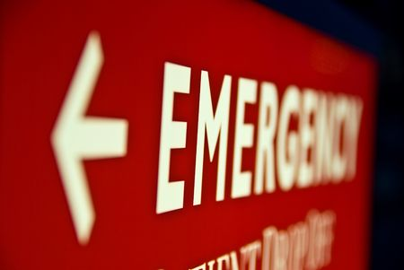 exit: Emergency Room Arrow sign