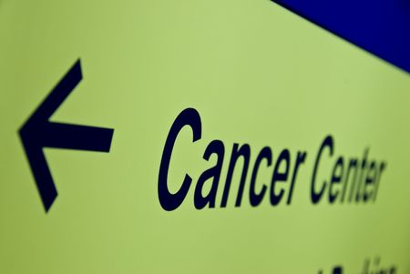skin cancer: Cancer Center arrow sign