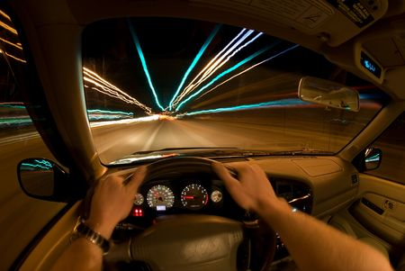speeding car: Night Driving Stock Photo