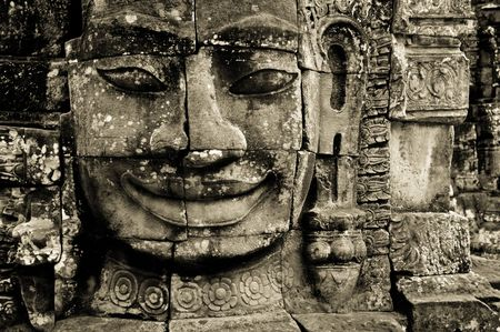 Stone Face at Bayon Temple, Angkor Thom Cambodia Stock Photo