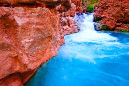 grand canyon: water falls on Havasu Creek, Arizona (Grand Canyon National Park)