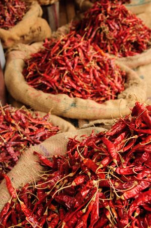 Bags of Dried Chillis.  Kollam, Kerala, India Stock Photo