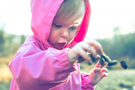 A toddler tossing rocks while playing outside in cool weather  Stock Photo