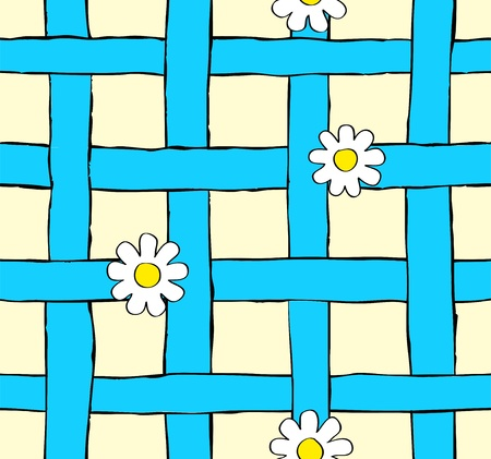 seamless daisy and blue grid Vector