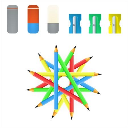 sacapuntas: Vector lápiz, sacapuntas y goma de borrar Vectores