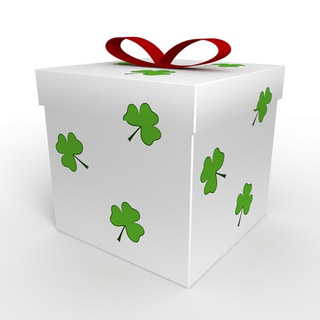 Gift box with clover Stock Photo - 18084149