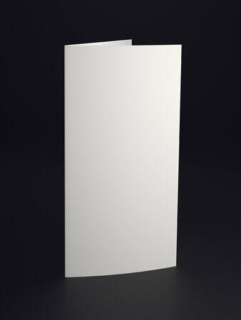 folded paper: Mock up white folded paper on black background. Close up.