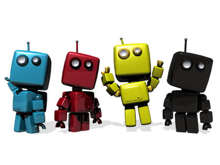 droid: A group of Four funny 3D rendered robots; CMYK (cyan, magenta, yellow, Key Black)