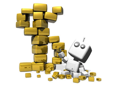 Happy robot sitting on a white background with a lot of precious golden cubes. A Golden dollar symbol made with big golden cubes stands near the robot. photo