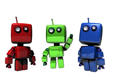 funny image: A colorful group of funny, 3D generated robots; RGB (Red, green, blue web colors)