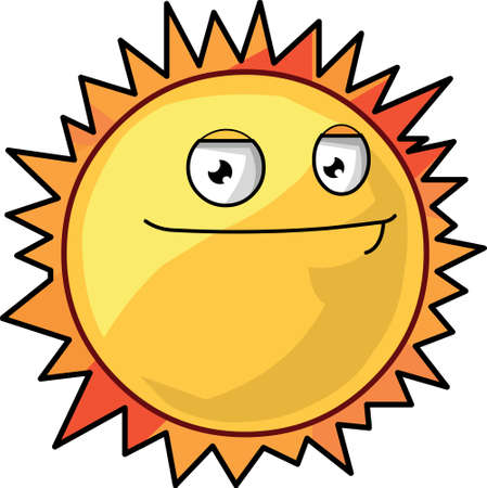 An isolated yellow and orange smiling sun vector illustration.An isolated yellow and orange smiling sun vector illustration. Vector