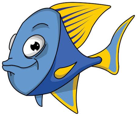 tuna: Blue and yellow fish vector illustration.