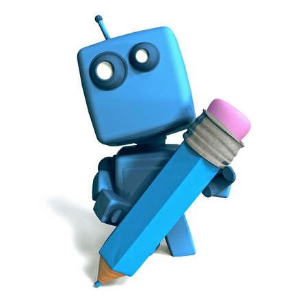 funny robot: Dr�le Robot 3D bleu avec un crayon sur fond blanc