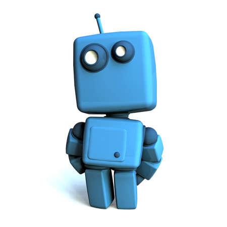 robot: Funny 3D Robot azul sobre fondo blanco
