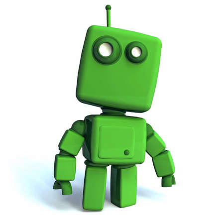 technologic: Funny 3D green Robot on white background Stock Photo