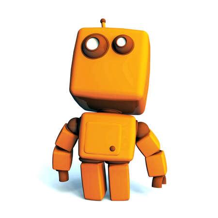 technologic: Orange proud 3D robot isolated on white background
