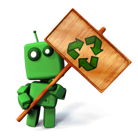 necessity: Funny 3D Green robot holdin a wooden recycle sign; isolated on white background