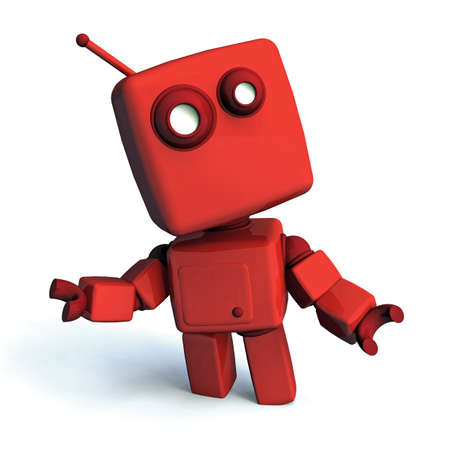 technologic: Red 3D robot looking aroud, isolated on white background Stock Photo