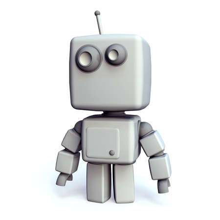 A funny and simple White 3D robot on white Background Stock Photo - 10886609