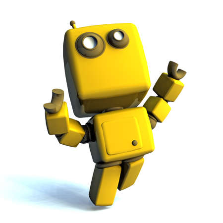 technologic: Yellow Happy 3D robot isolated on white background
