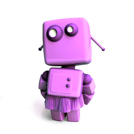 robot girl: Pink 3D Robot girl isolated on white background