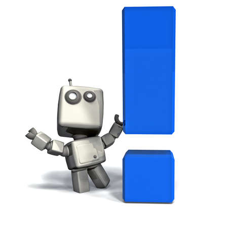 White 3D Robot with Blue Exclamation Point isolated on white background Stock Photo - 10886615