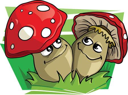 cartoon mushroom: Two mushrooms vector illustration Illustration