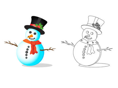 Snowman illustration in a white background Vector