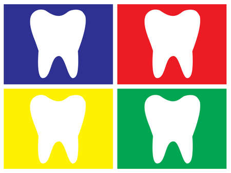 molar tooth in different colors for wall picture