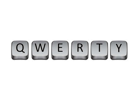 QWERTY with keyboard keys in white background photo